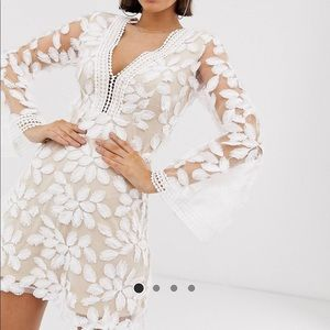Long sleeve embroidered white dress